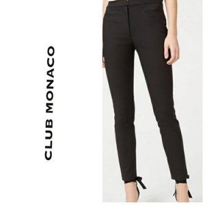 CLUB MONACO Leather Trim Skinny Black Pants